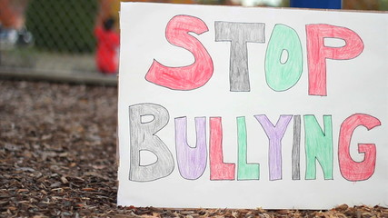 Stop Bullying Sign On School Playground