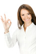 Businesswoman with okay gesture, on white