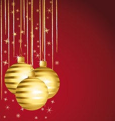 Golden striped ornaments. Christmas background.
