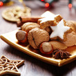 Cinnamon stars and nuts for christmas