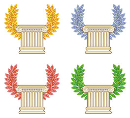 Gold, silver, bronze and green laurel wreath with a Greek column