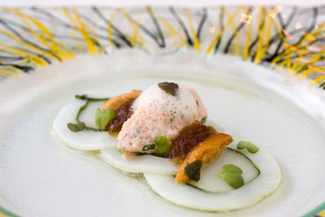 Molecular cuisine seafood with crab, urchin, squid and scallop