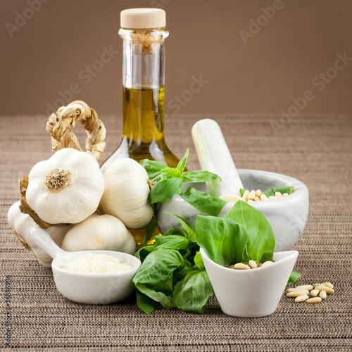 Plakat Pesto genovese seasoning with ingredients