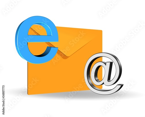 illustration of elegant 3d e-mail icon