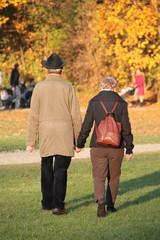 Goldener Herbst, goldene Jahre: altes Paar Hand in Hand
