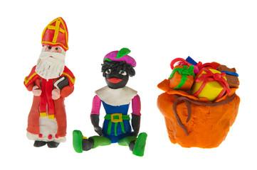 Sinterklaas and black Piet from clay