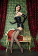 Hot Girl Wearing Sexy Stockings and Long Corset