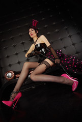 Sexy Burlesque Girl Posing in her 6 inch Fetish Pumps