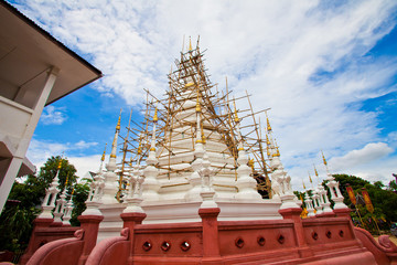 Thai pagoda during construction