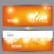Elegant Christmas banners with deers. Vector Illustration with p