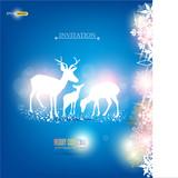 Elegant Christmas background with deers. Vector Illustration wit
