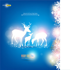 Elegant Christmas background with deers. Vector Illustration wit
