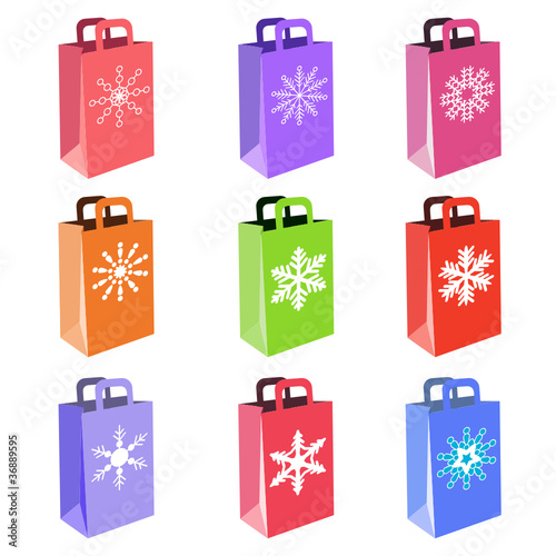 shopping bags with snowflake symbols