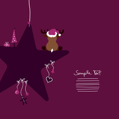 Reindeer Sitting On Star & Symbols Purple