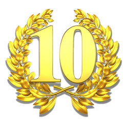 10 ten number laurel wreath