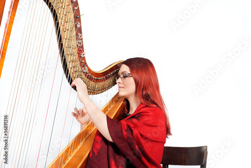 Girl playing on a Harp