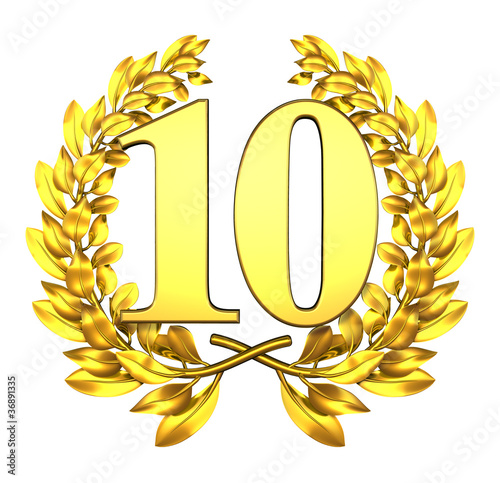 ten number laurel wreath