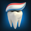 dental care - toothpaste on tooth