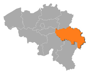 Map of Belgium, Liège highlighted