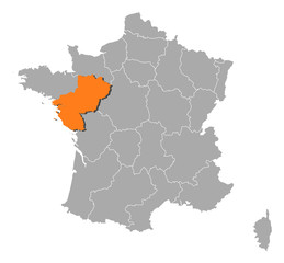 Map of France, Pais de la Loire highlighted