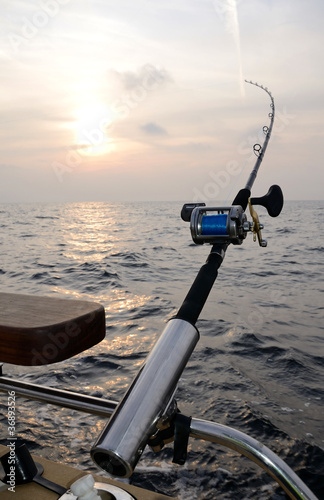 Single fishing-rod on a boat