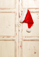 Chrismas hat hanging on front door