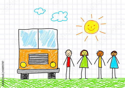 Drawing of school bus