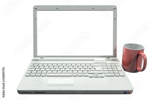White Laptop with Clipping Path