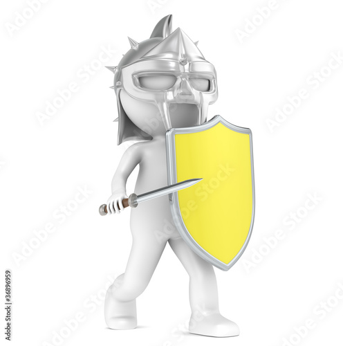 3D little human character The Gladiator with a Virus Shield.
