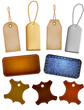 Collection of leather and jeans labels and tags. Vector