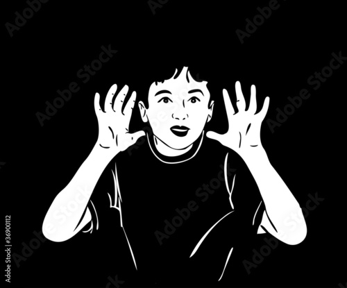 sketch of a boy raised his hands and shouting in the darkness
