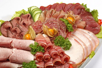 Schinken auf Platte, Partyplatte, Fleisch