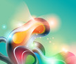Abstract background with transforming shining forms. Vector