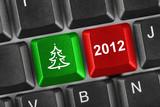 Fototapety Computer keyboard with Christmas keys