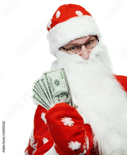 Happy Santa Claus in red hat with dollar money