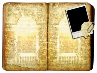 Antique Book with Polaroid