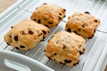 Four fruit scones on a cooling tray