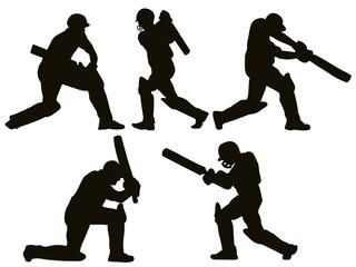 cricket sports batsman batting silhoutte