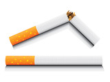 vector isolated normal and broken cigarette poster
