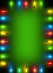 Frame of Christmas lights on dark green background