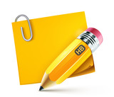 fat yellow pencil with postit pad