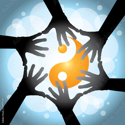 six human cooperative hands - illustration