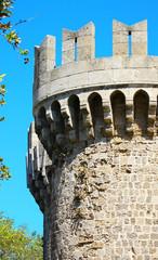 Tower in Rhodes castle - side view, Greece