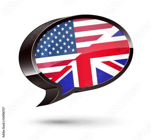 """American-English Speaking"" 3D Speech Bubble"