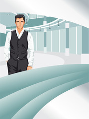 Template for advertising brochure with business man