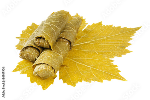 Dolma on grape leaf