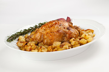 Roasted chicken wit potatoes
