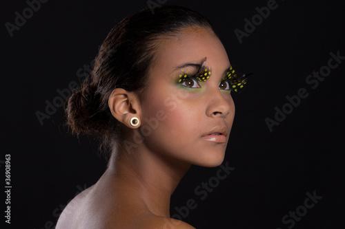 Fototapeten,gelb,frau,wimper,makeup
