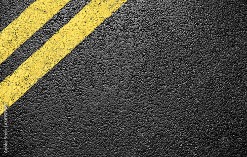 black asphalt yellow markings - 36909583