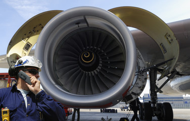 engineer and large jet engine